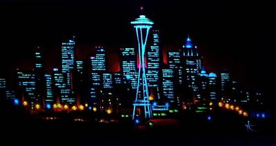 Seattle Skyline Painting - Seattle By Black Light by Thomas Kolendra