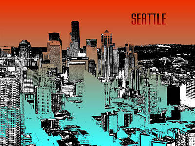 Seattle Skyline Mixed Media - Seattle Downtown Skyline - Red Blue by Art America Online Gallery