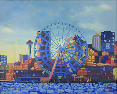 Seattle Skyline Painting - Seattle In Color  by Tracy Roland