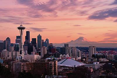 Seattle In Pink Print by Aaron Eakin