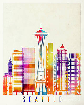 Seattle Skyline Painting - Seattle Landmarks Watercolor Poster by Pablo Romero