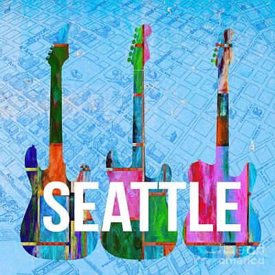 Guitar Digital Art - Seattle Music Scene by Edward Fielding