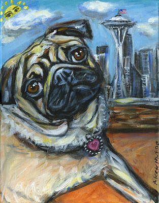 Fawn Pug Painting - Seattle Pug Waiting For The Sun by Angie  Ketelhut