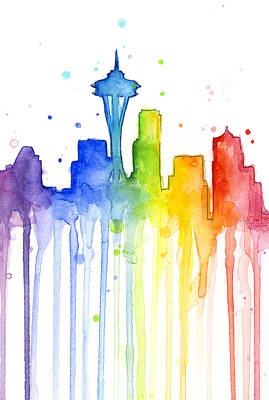 Seattle Skyline Painting - Seattle Rainbow Watercolor by Olga Shvartsur