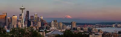 Travel Photograph - Seattle Skyline And Mt. Rainier Panoramic Hd by Adam Romanowicz
