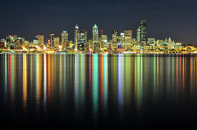 Illuminated Photograph - Seattle Skyline At Night by Hai Huu Thanh Nguyen