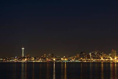 Seattle Skyline At Night Print by Stacey Lynn Payne