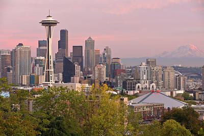 Seattle Skyline At Sunset Washington State. Original by Gino Rigucci