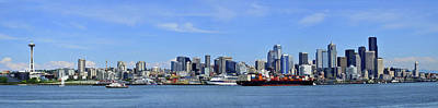 Seattle Skyline From Puget Sound Print by Angelito De Jesus