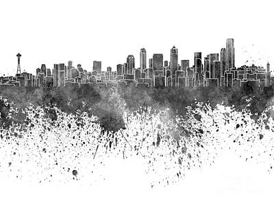 Seattle Skyline Painting - Seattle Skyline In Black Watercolor On White Background by Pablo Romero