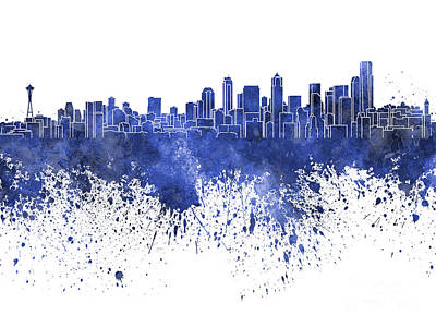 Seattle Skyline Painting - Seattle Skyline In Blue Watercolor On White Background by Pablo Romero