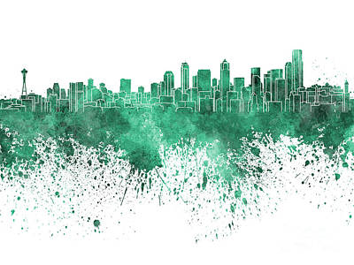 Seattle Skyline Painting - Seattle Skyline In Green Watercolor On White Background by Pablo Romero