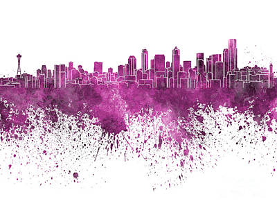 Seattle Skyline Painting - Seattle Skyline In Pink Watercolor On White Background by Pablo Romero