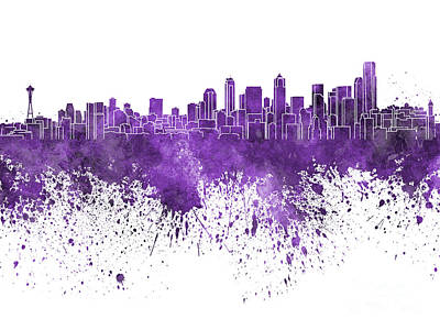 Seattle Skyline Painting - Seattle Skyline In Purple Watercolor On White Background by Pablo Romero