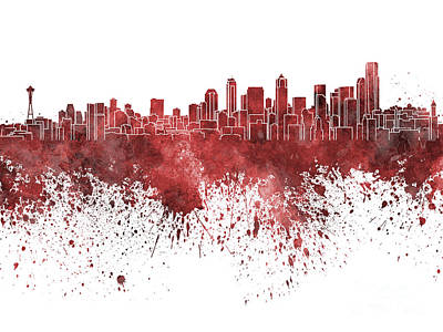 Seattle Skyline Painting - Seattle Skyline In Red Watercolor On White Background by Pablo Romero