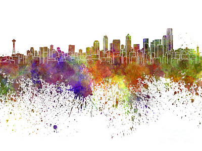 Seattle Skyline Painting - Seattle Skyline In Watercolor On White Background by Pablo Romero