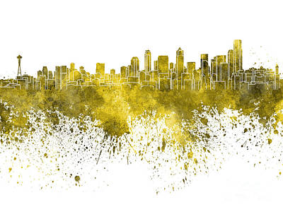 Seattle Skyline Painting - Seattle Skyline In Yellow Watercolor On White Background by Pablo Romero