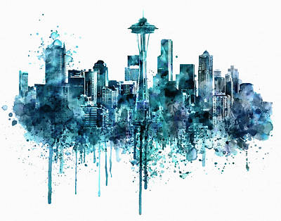 Affordable Art Mixed Media - Seattle Skyline Monochrome Watercolor by Marian Voicu
