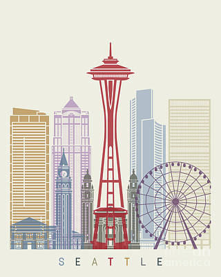 Seattle Skyline Painting - Seattle Skyline Poster by Pablo Romero