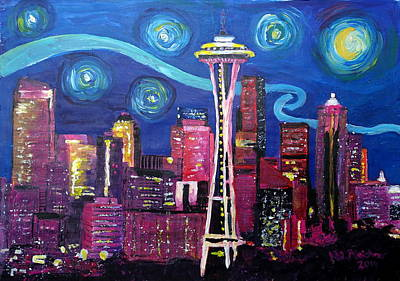 Seattle Skyline Painting - Starry Night In Seattle - Van Gogh Inspirations With Space Needle And Skyline by M Bleichner