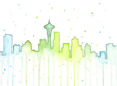 Green Painting - Seattle Skyline Watercolor  by Olga Shvartsur