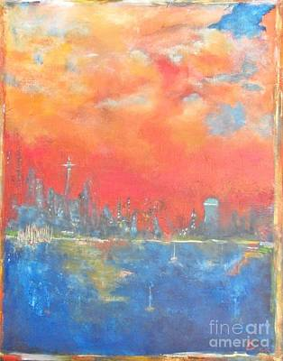 Seattle Skyline Painting - Seattle Sunset by Chaline Ouellet