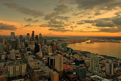 Sea Photograph - Seattle Sunset by Dan Mihai