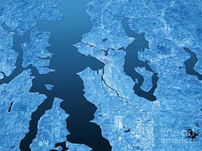 Seattle Topographic Map 3d Landscape View Blue Color Print by Frank Ramspott
