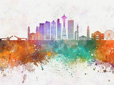 Seattle Skyline Painting - Seattle V2 Skyline In Watercolor Background by Pablo Romero