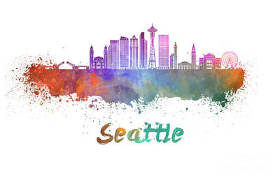 Seattle Skyline Painting - Seattle V2 Skyline In Watercolor by Pablo Romero