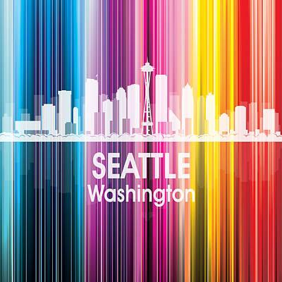 Skyscraper Digital Art - Seattle Wa 2 Squared by Angelina Vick