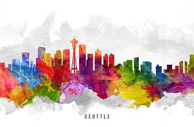 Seattle Skyline Digital Art - Seattle Washington Cityscape 13 by Aged Pixel