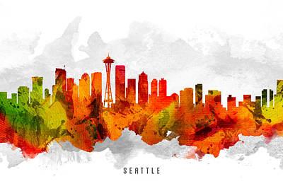 Seattle Skyline Digital Art - Seattle Washington Cityscape 15 by Aged Pixel