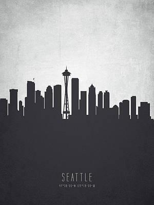 Seattle Skyline Digital Art - Seattle Washington Cityscape 19 by Aged Pixel