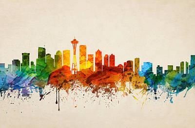 Seattle Skyline Digital Art - Seattle Washington Skyline 16 by Aged Pixel