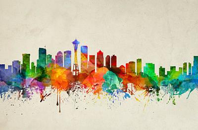 Seattle Skyline Digital Art - Seattle Washington Skyline 21 by Aged Pixel