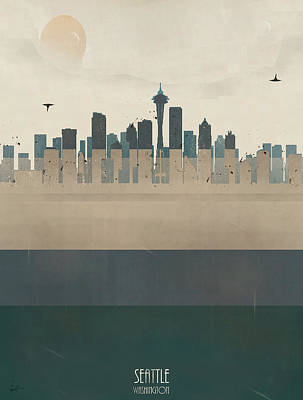 Colourfull Painting - Seattle Washington Skyline by Bri B