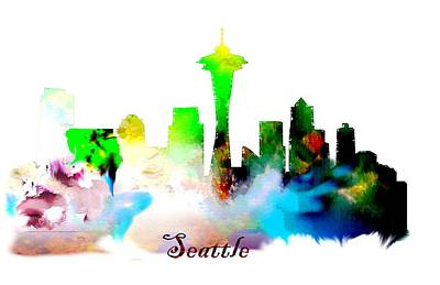 New York City Skyline Drawing - Seattle Water Color Skyline Art. by Peter Nowell