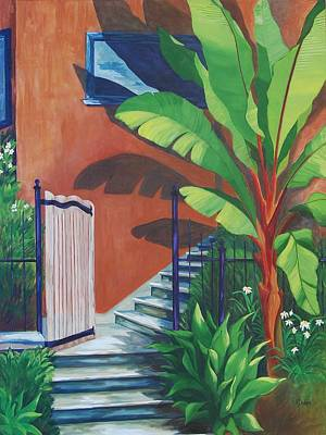 Banana Tree Painting - Secret Passage by Karen Dukes