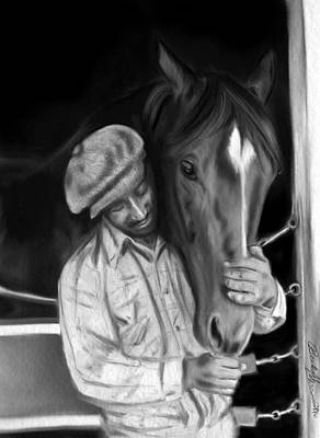 Secretariat And His Groom Print by Becky Herrera