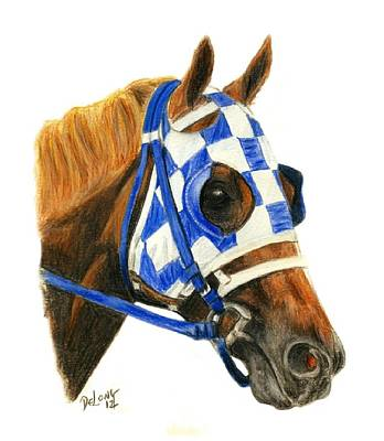 Kentucky Painting - Secretariat With Blinkers by Pat DeLong