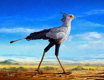 Africa Painting - Secretary Bird by Anthony Mwangi