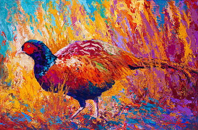 Pheasant Painting - Secrets In The Grass - Pheasant by Marion Rose