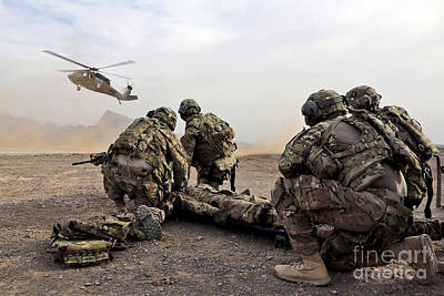 Camouflage Clothing Photograph - Security Force Team Members Wait by Stocktrek Images