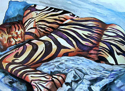 Zebra Drawing - Seduction Of Stripes by Rene Capone