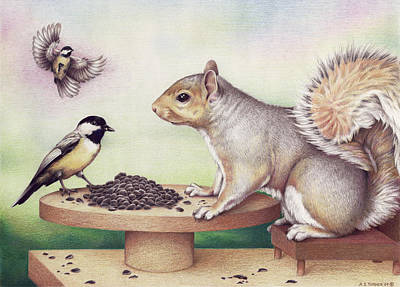 Chickadee Drawing - Seed For Two by Amy S Turner