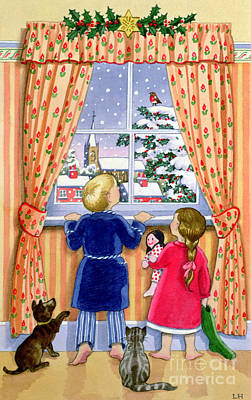 Christmas Cards Painting - Seeing The Snow by Lavinia Hamer