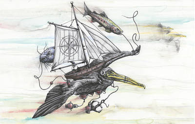 Pelican Mixed Media - Seeking Value Through Sea And Sky by Tai Taeoalii