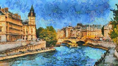 Seine River Bridge Pont Michel Print by Aaron Stokes