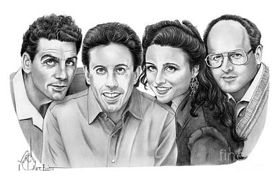 Famous People Drawing - Seinfeld Cast by Murphy Elliott